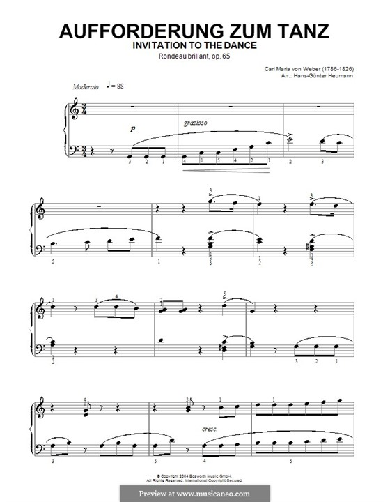 Invitation to the Dance, J.260 Op.65: For piano (with fingering) by Carl Maria von Weber