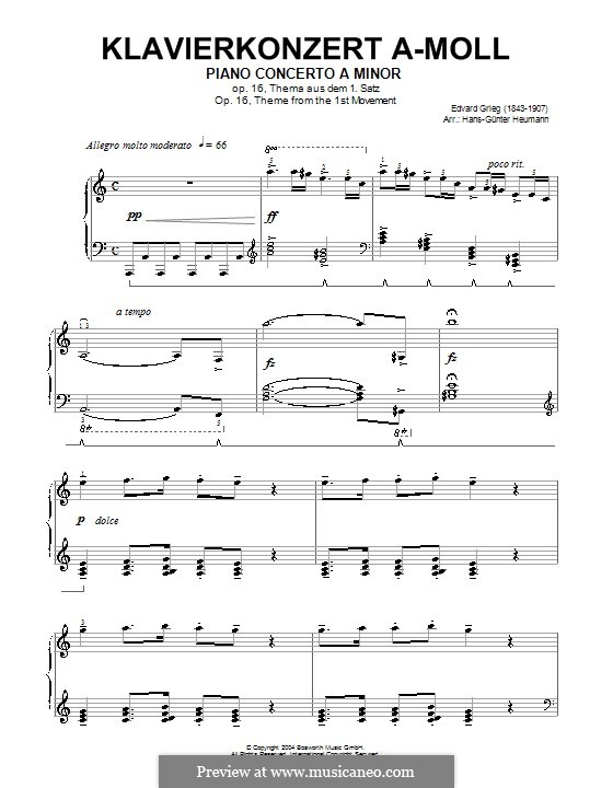 Piano Concerto in A Minor, Op.16: Movement I. Theme. Version for piano (high quality sheet music) by Edvard Grieg