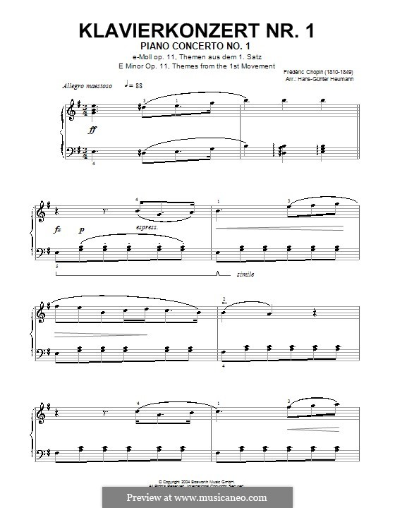 Fragments: Movement I (Theme). Version for piano by Frédéric Chopin