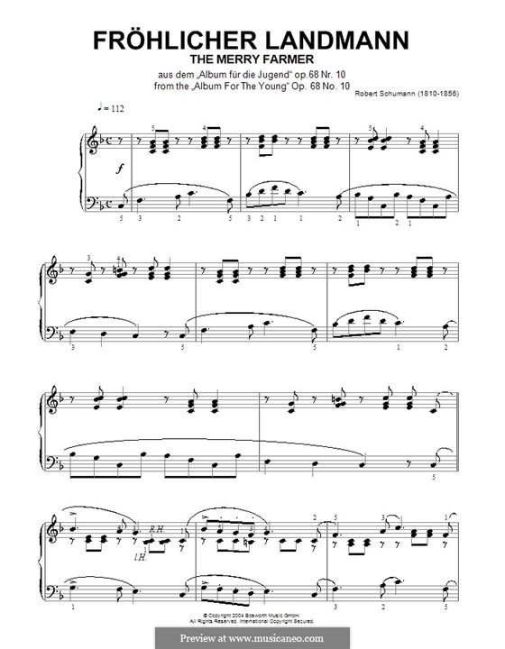No.10 Fröhlicher Landmann (The Happy Farmer): For piano (high quality sheet music) by Robert Schumann