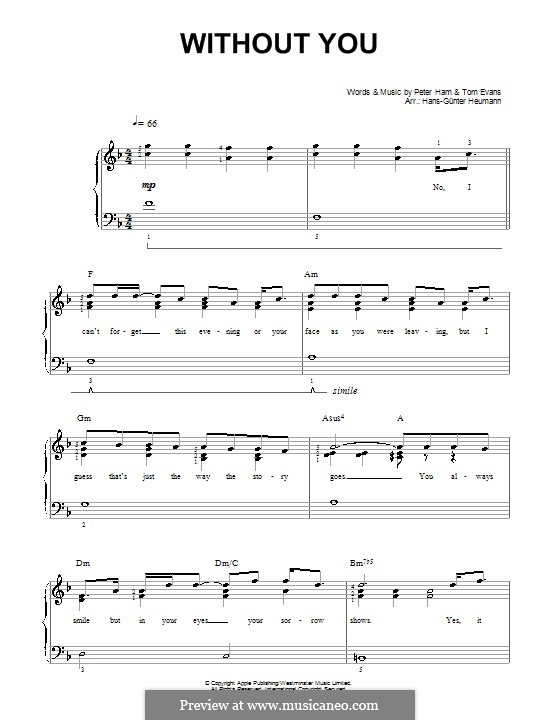 Without You (Badfinger): For voice and piano by Peter Ham, Tom Evans