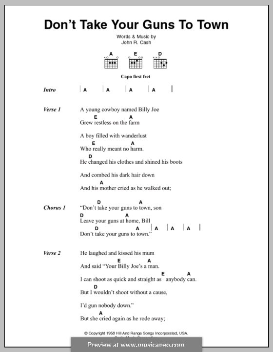 Don't Take Your Guns To Town: Lyrics and chords by Johnny Cash