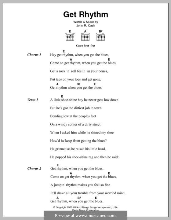 Get Rhythm: Lyrics and chords by Johnny Cash