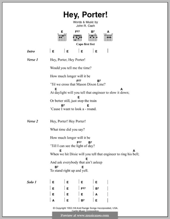 Hey, Porter: Lyrics and chords by Johnny Cash