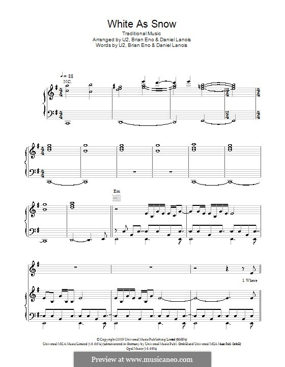 White As Snow: For voice and piano (or guitar) by folklore