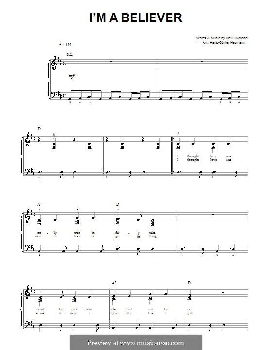 I'm a Believer: Piano-vocal score by Neil Diamond