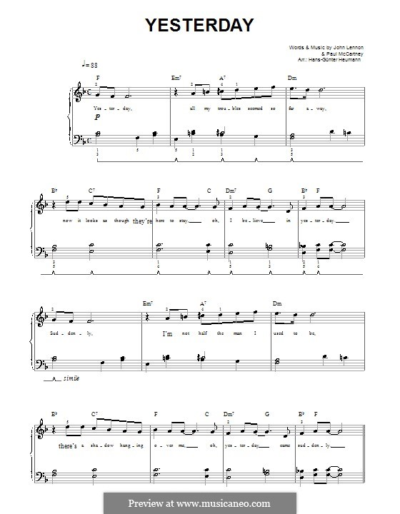 Yesterday (The Beatles): For voice and piano (F Major) by John Lennon, Paul McCartney