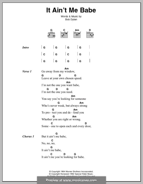 It Ain't Me Babe: Lyrics and chords by Bob Dylan