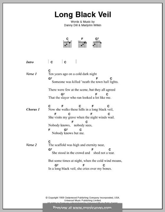 The Long Black Veil: Lyrics and chords (Johnny Cash) by Danny Dill, Marijohn Wilkin