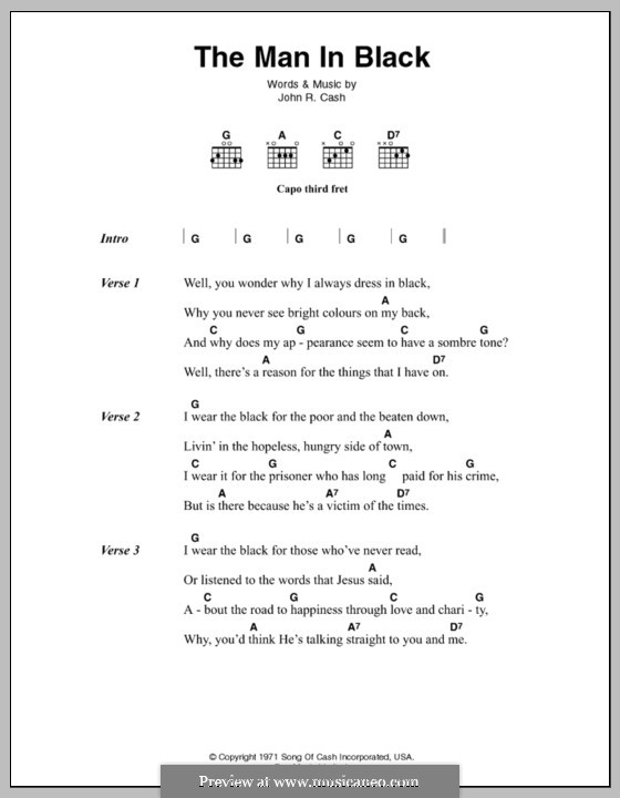 The Man in Black: Lyrics and chords by Johnny Cash