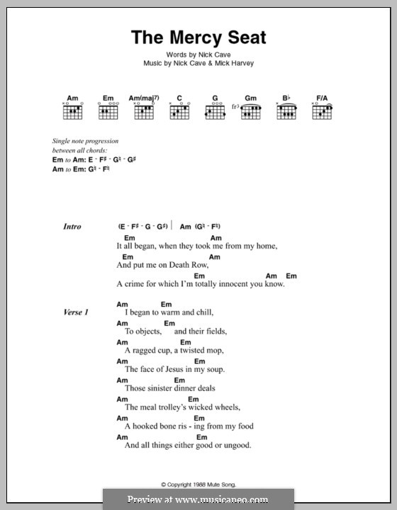 The Mercy Seat by M. Harvey, N. Cave - sheet music on MusicaNeo