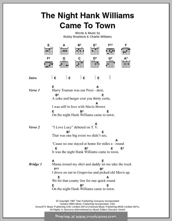 The Night Hank Williams Came To Town: Lyrics and chords by Charles Lee Williams, Bobby Braddock