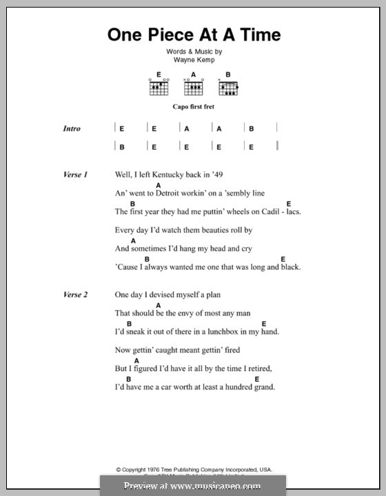 One Piece at a Time: Lyrics and chords (Johnny Cash) by Wayne Kemp