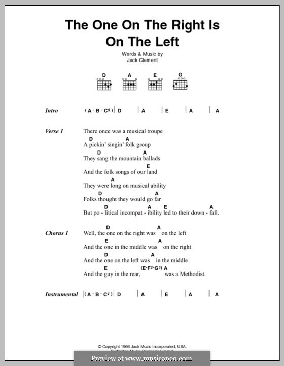 The One on the Right Is on the Left (Johnny Cash): Lyrics and chords by Jack Clement