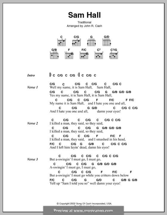 Sam Hall: Lyrics and chords by Johnny Cash