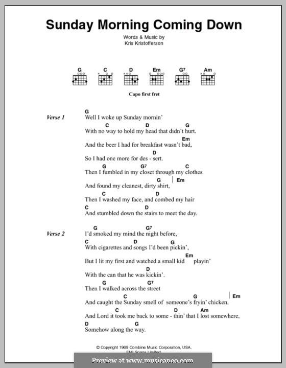 Sunday Mornin' Comin' Down: Lyrics and chords by Kris Kristofferson