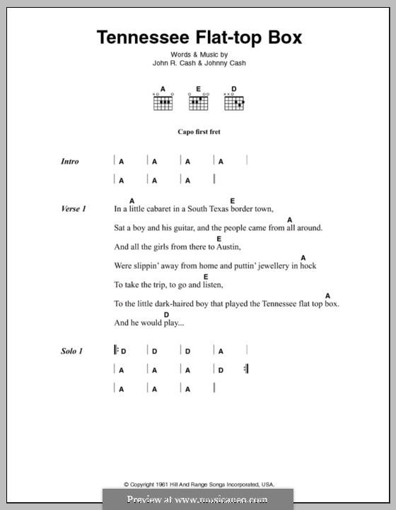 Tennessee Flat Top Box By J Cash Sheet Music On Musicaneo