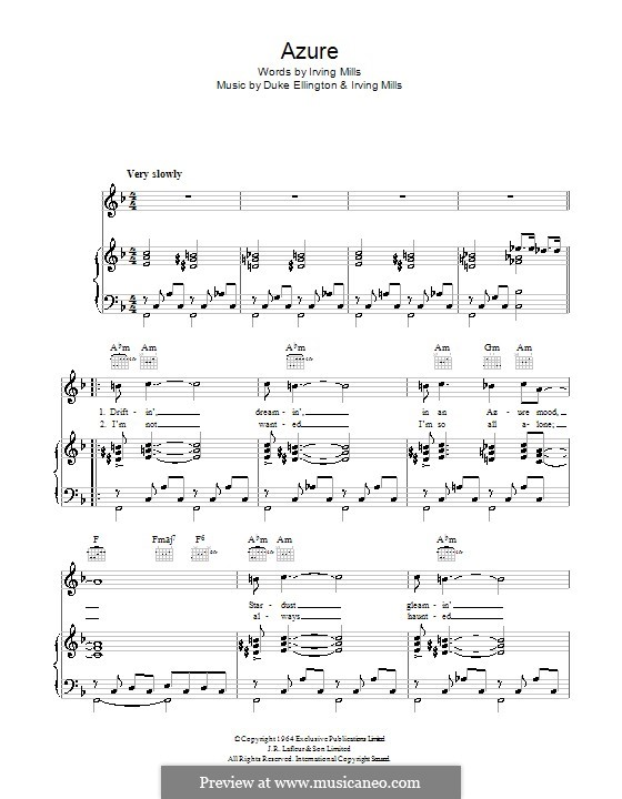 Azure (Duke Ellington): For voice and piano (or guitar) by Irving Mills