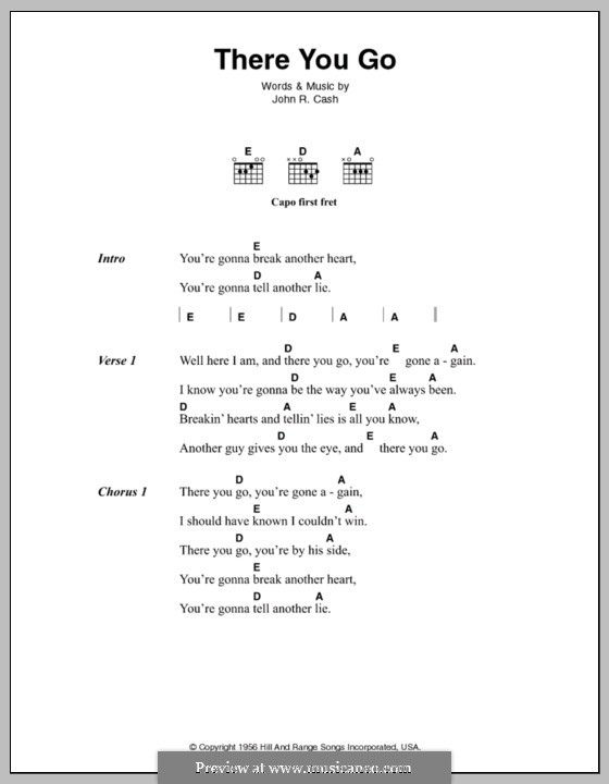There You Go: Lyrics and chords by Johnny Cash
