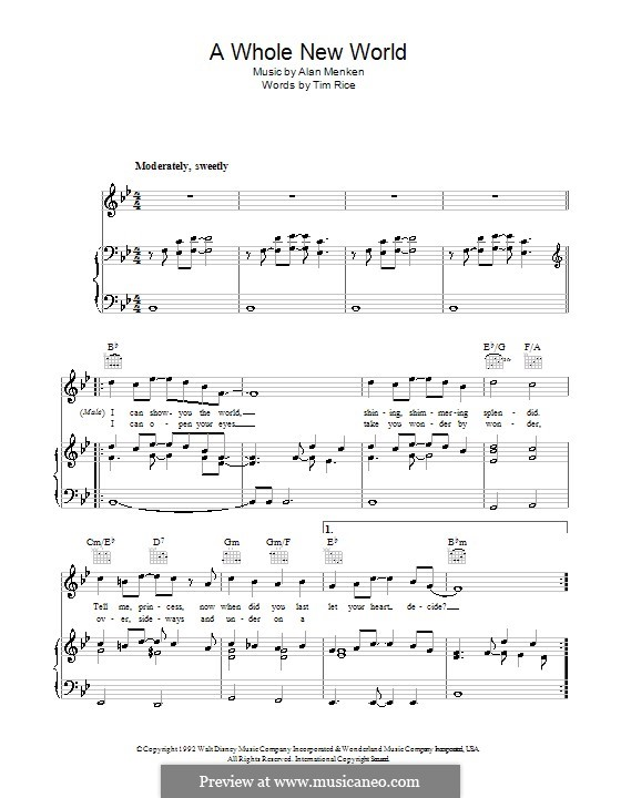 A Whole New World (from Aladdin): For voice and piano (or guitar) by Alan Menken