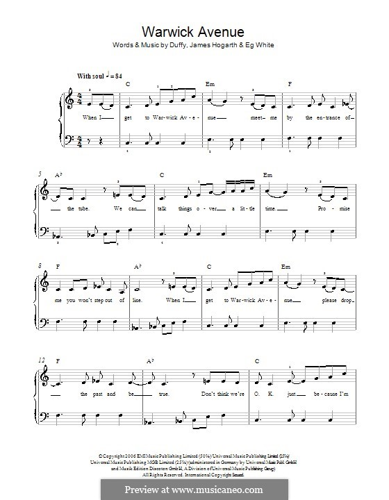 Warwick Avenue (Duffy): For easy piano by Jimmy Hogarth, Aimee Duffy, Eg White