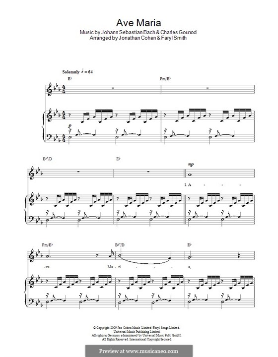 Ave Maria (Printable Sheet Music): For voice and piano or guitar (E Flat Major) by Johann Sebastian Bach, Charles Gounod