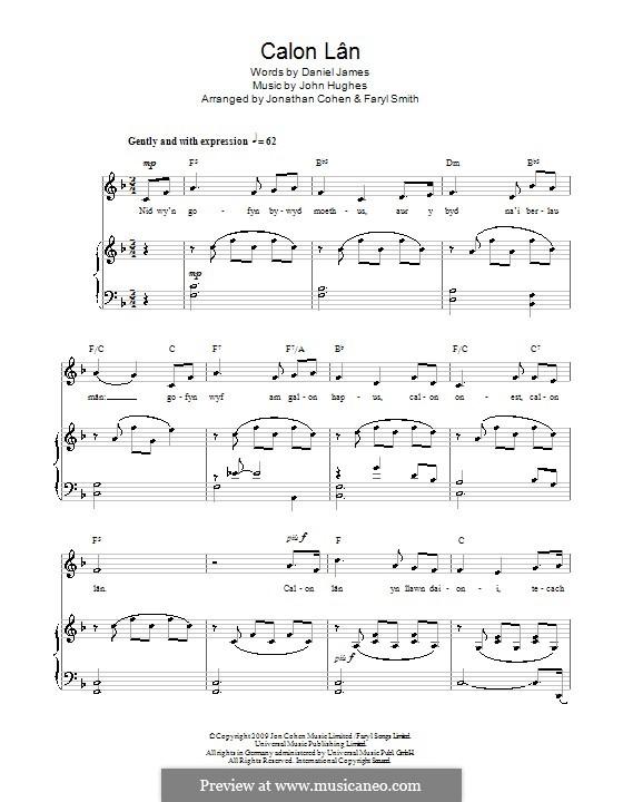 Calon Lân: For voice and piano by John Hughes