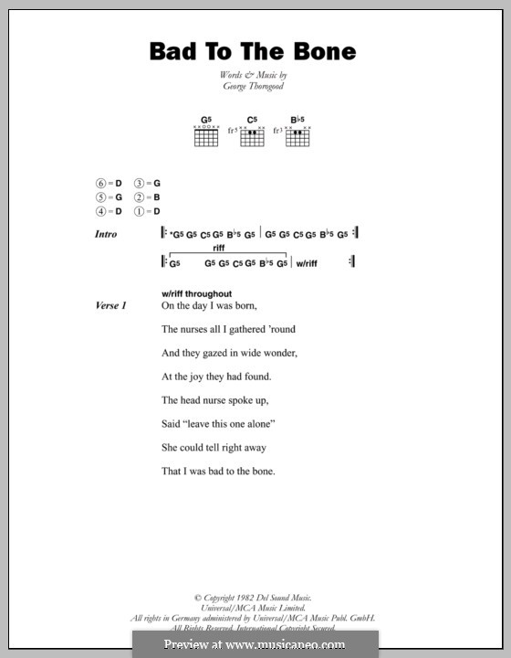 Bad to the Bone: Lyrics and chords by George Thorogood