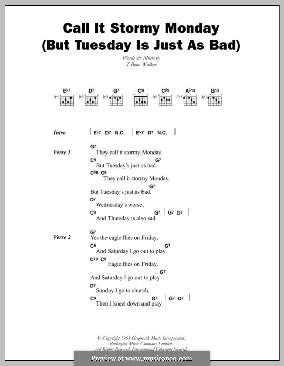 Call It Stormy Monday But Tuesday Is Just As Bad By T Bone Walker