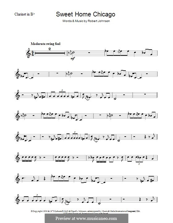 Sweet Home Chicago (Eric Clapton): For clarinet by Robert Leroy Johnson