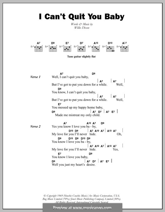 I Cant Quit You Baby Otis Rush By W Dixon Sheet Music On Musicaneo
