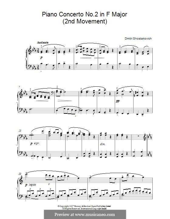 shostakovich piano concerto 2 andante pdf
