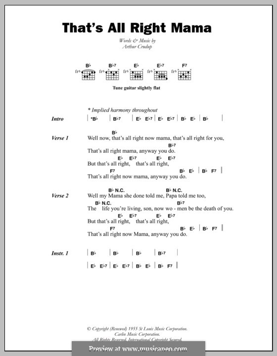 That's All Right (Elvis Presley): Lyrics and chords by Arthur Crudup