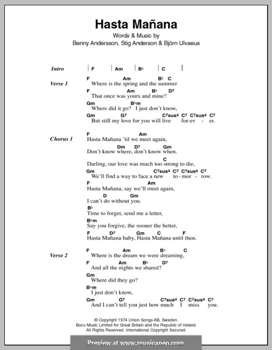 Hasta Manana (ABBA): Lyrics and chords by Benny Andersson, Björn Ulvaeus, Stig Anderson