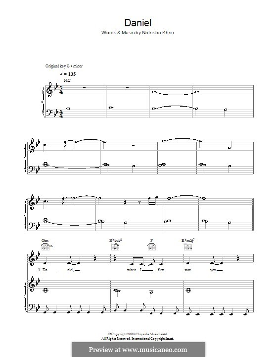 Daniel (Bat for Lashes): For voice and piano (or guitar) by Natasha Khan