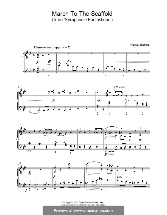 Symphonie fantastique (Fantastic Symphony), H.48 Op.14: March to the Scaffold, for piano by Hector Berlioz