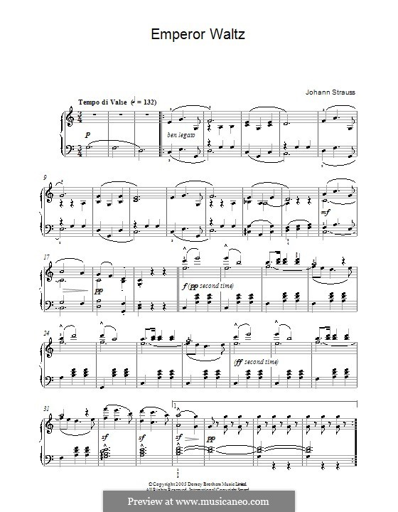 Emperor Waltz, Op.437: For piano (high quality sheet music) by Johann Strauss (Sohn)