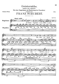 Geisternähe (The Nearby Spirits), D.100: E flat Major by Franz Schubert