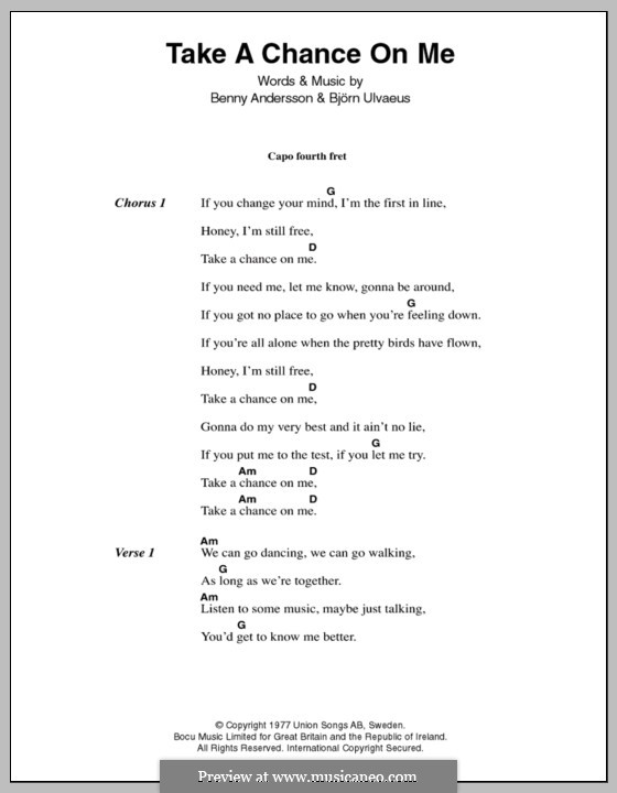 Take a Chance on Me (ABBA): Lyrics and chords by Benny Andersson, Björn Ulvaeus