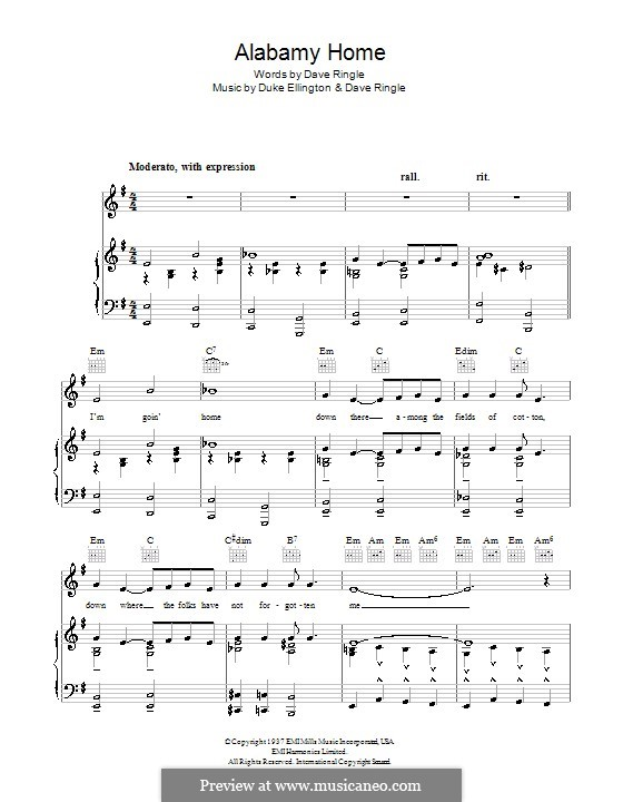 Alabamy Home (Duke Ellington): For voice and piano (or guitar) by Dave Ringle