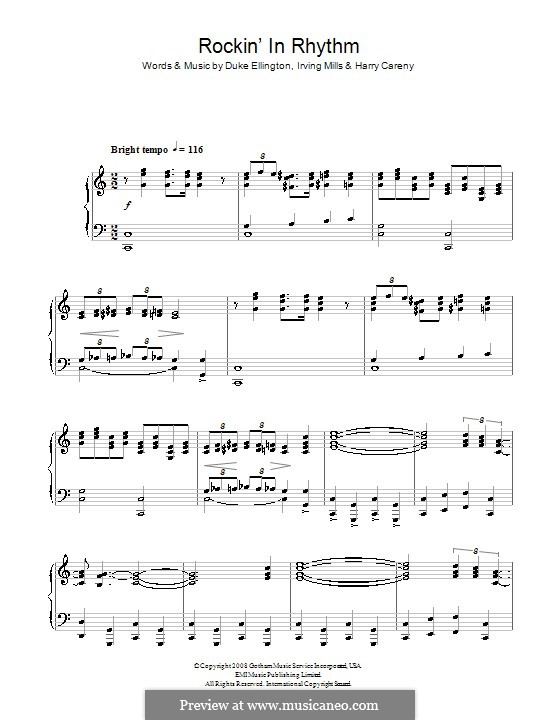 Rockin' in Rhythm (Duke Ellington): For voice and piano (or guitar) by Irving Mills, Harry Carney