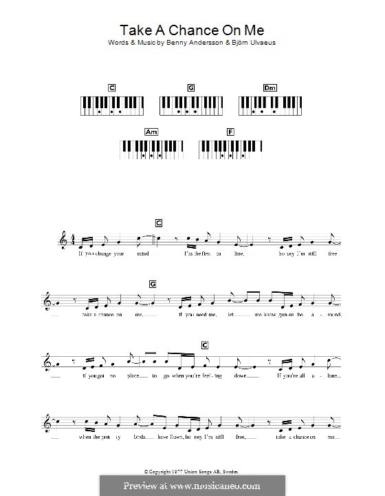 Take a Chance on Me (ABBA): For keyboard by Benny Andersson, Björn Ulvaeus
