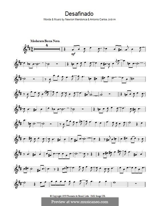 Desafinado (Slightly Out of Tune): For saxophone by Antonio Carlos Jobim