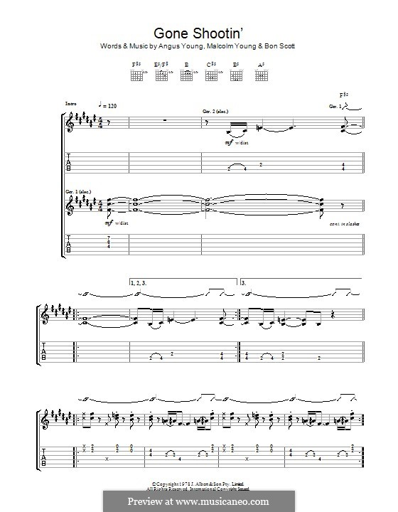 Gone Shootin' (AC/DC): For guitar with tab by Angus Young, Bon Scott, Malcolm Young