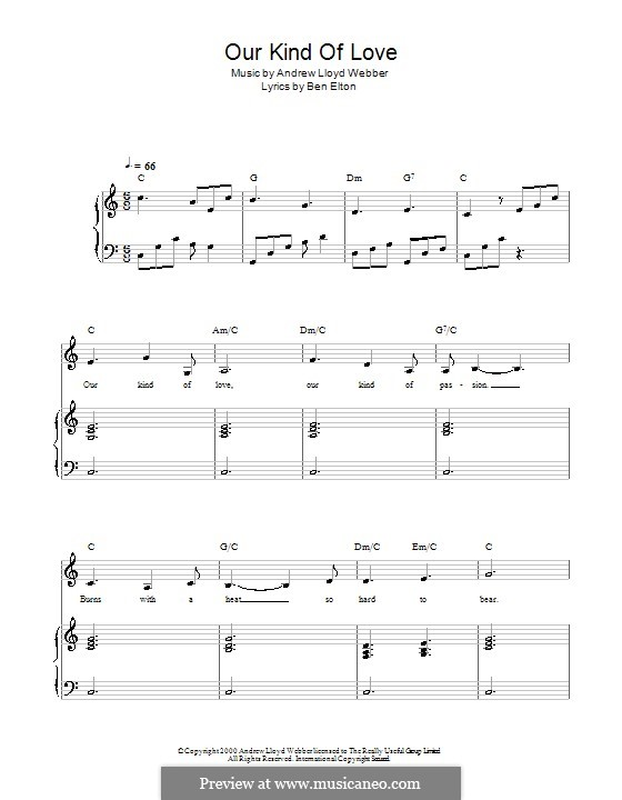 Our Kind of Love (from The Beautiful Game): For voice and piano by Andrew Lloyd Webber