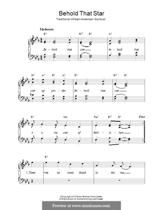 Behold That Star: For voice and piano by folklore