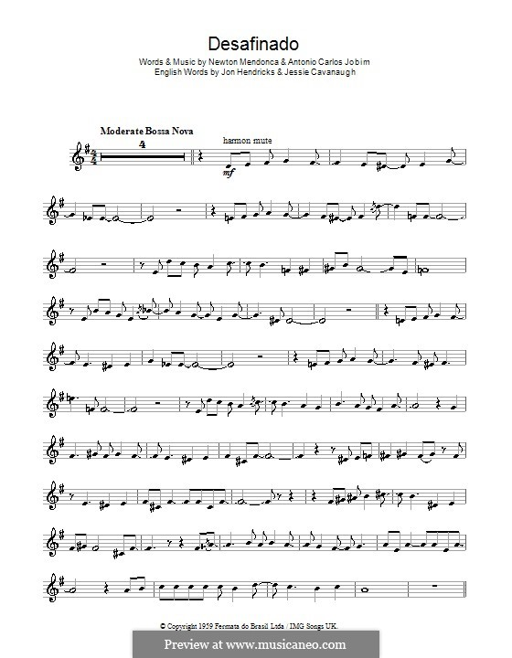 Desafinado (Slightly Out of Tune): For trumpet by Antonio Carlos Jobim