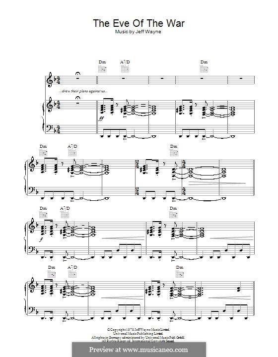 The Eve of the War (from War of the Worlds): For voice and piano (or guitar) by Jeff Wayne