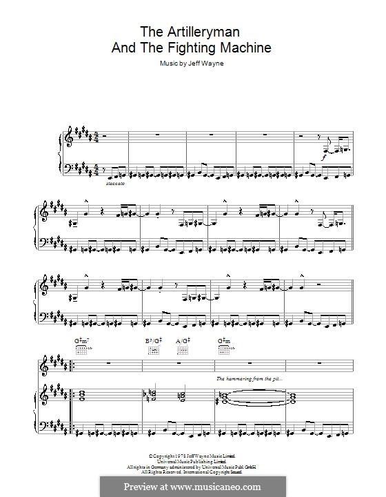 The Artilleryman and the Fighting Machine (from War of the Worlds): For voice and piano (or guitar) by Jeff Wayne