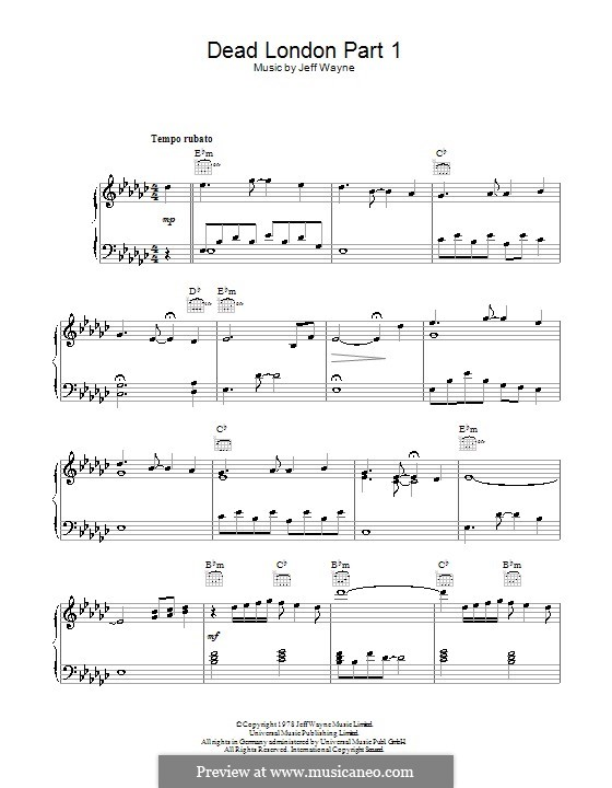 Dead London (from War of the Worlds): For voice and piano (or guitar) by Jeff Wayne